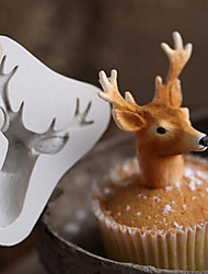 3D Stag's Head Mold Christmas Deer Silicone Mould Fondant Cake Mold elk Mold Random Color