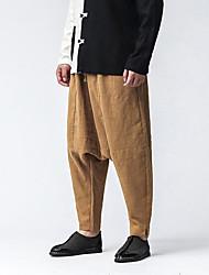 Da uomo A vita medio-alta Semplice Moda città Chinoiserie Media elasticità Chino Pantaloni,Largo Tinta unita Con ricami