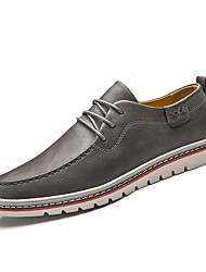 Men's Shoes Leather Fall Winter Comfort Sneakers Lace-up For Casual Work & Safety Brown Gray Black