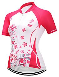 abordables -FUALRNY® Femme Manches Courtes Maillot de Cyclisme - Rouge et Blanc Vélo Maillot, Séchage rapide, Bandes Réfléchissantes