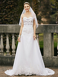cheap -A-Line Sweetheart Court Train Lace Organza Custom Wedding Dresses with Crystal Detailing by LAN TING BRIDE®