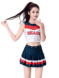 cheap -Cheerleader Costumes Outfits Women's Performance Polyester Sleeveless Dropped Skirts Top