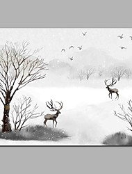 cheap -Hand-Painted Landscape Horizontal, Artistic Nature Inspired Active Birthday Cool Office/Business Modern/Contemporary New Year's Christmas