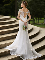 cheap -Mermaid / Trumpet Illusion Neckline Sweep / Brush Train Satin Tulle All Over Lace Custom Wedding Dresses with Appliques by LAN TING BRIDE®