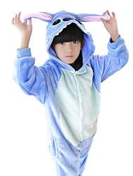 cheap -Kigurumi Pajamas Blue Monster / Anime Onesie Pajamas Costume Flannel Fabric Blue / Pink Cosplay For Kid's Animal Sleepwear Cartoon