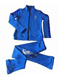 Figure Skating Fleece Jacket with Pants Women's Girls' Ice Skating Tracksuit Clothing Suits Fuchsia Blue Stretchy Performance Practise Skating Wear