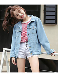 cheap -Women's Going out Street chic Fall Denim Jacket,Letter Shirt Collar Long Sleeve Regular Others