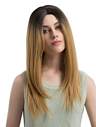 cheap -Women Synthetic Wig Capless Long Straight Black/Gold Ombre Hair Dark Roots Middle Part Natural Wigs Costume Wig