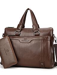 preiswerte -Herrn Taschen PU Bag Set 2 Stück Geldbörse Set Reißverschluss für Formal / Büro & Karriere Schwarz / Braun / Khaki