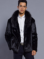 cheap -Men's Daily Work Simple Vintage Casual Punk & Gothic Winter Fur Coat,Solid Shawl Lapel Long Sleeve Regular Faux Fur