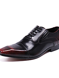 cheap -Men's Shoes Nappa Leather Spring Fall Formal Shoes Comfort Novelty Oxfords Lace-up For Wedding Party & Evening Red Black