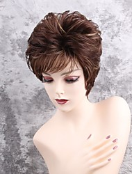 cheap -Synthetic Wig Straight Pixie Cut With Bangs Side Part Highlighted/Balayage Hair Brown Women's Capless Natural Wigs Short Synthetic Hair
