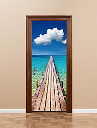3D Seaside Beach Wooden Bridge Door Mural Wall Sticker DIY Mural Home Decor Poster PVC Waterproof Blue Sky White Cloud Door Sticker 77x200cm