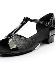 Недорогие -Жен. Обувь для латины Блестки / Материал на заказ клиента На каблуках Каблуки на заказ Персонализируемая Танцевальная обувь Черный