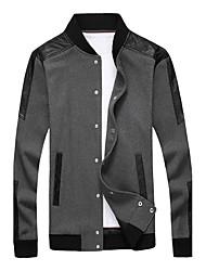 Недорогие -Для мужчин Спорт На каждый день Осень Зима Куртка Воротник-стойка,Простой Однотонный Обычная Длинный рукав,Полиуретановая
