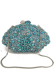 cheap -Women's Bags Metal Evening Bag Crystal Detailing for Wedding Event/Party Formal All Seasons Silver Military Green Light Green Dark Green