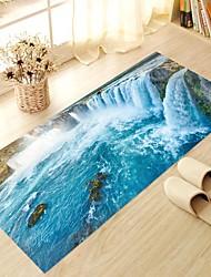 DIY 3D Waterfall View Antiskid Floor Stickers Home Decor PVC Water Rock Stone Floor Anti-slip Ground Decal for Washroom Kids Room 60*120cm
