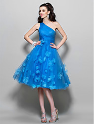 A-Line One Shoulder Knee Length Tulle Cocktail Party Homecoming Prom Dress with Beading Flower(s) by TS Couture®