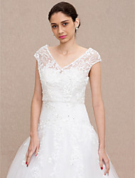 cheap -Lace Wedding Party / Evening Women's Wrap With Buttons Lace Vests