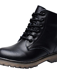 cheap -Boys' Shoes Leather Winter Comfort / Fashion Boots / Combat Boots Boots Lace-up for Black / Booties / Ankle Boots