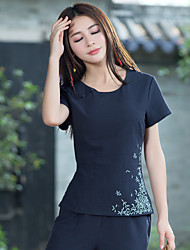 cheap -Women's Daily Vintage Chinoiserie T-shirt,Embroidery Round Neck Short Sleeves Cotton Linen