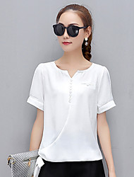cheap -Women's Daily Active T-shirt,Solid Deep V Short Sleeves Linen