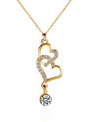 cheap -Women's Heart Rhinestone Choker Necklace Pendant Necklace Chain Necklace - Heart Gold Necklace For Party Daily