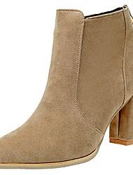 preiswerte -Damen Schuhe PU Frühling Sommer Komfort Pumps High Heels Block Ferse Spitze Zehe Booties / Stiefeletten für Büro & Karriere Schwarz Braun