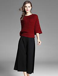 Standard Pullover Da donna-Casual Moda città Tinta unita Rotonda Mezza manica Poliestere Autunno Medio spessore Elasticizzato