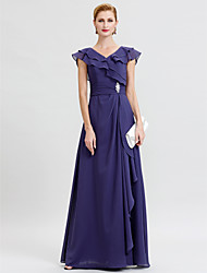 A-Line V-neck Floor Length Chiffon Mother of the Bride Dress with Sash / Ribbon Crystal Brooch by LAN TING BRIDE®
