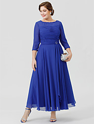 A-Line Bateau Neck Ankle-length Chiffon Georgette Mother of the Bride Dress with Crystal Brooch Ruching by LAN TING BRIDE®