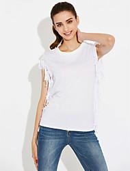 billige Sommernyanser-Bomull T-skjorte Dame - Ensfarget Gatemote Strand Ut på byen Ferie
