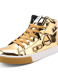 cheap -Men's Shoes Patent Leather Spring Fall Comfort Sneakers Mid-Calf Boots Flower for Casual Party & Evening Gold Black Silver