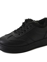 cheap -Women's Shoes PU Winter Comfort Sneakers Round Toe Lace-up For Casual Black White