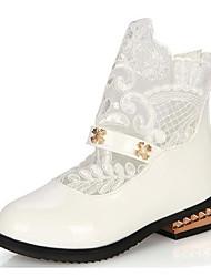 Fille Chaussures Similicuir Automne Hiver Bottes à la Mode Chaussures de Demoiselle d'Honneur Fille Bottes Pour Décontracté Blanc Noir