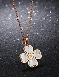 Жен. Ожерелья с подвесками Бижутерия Четырехлистный клевер Нержавеющая сталь Позолоченное розовым золотом Бижутерия Назначение Свадьба