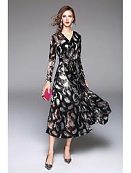 economico -Per donna Moda città Fodero Swing Vestito - Con stampe A V Maxi