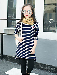 Girls' Stripe Tee,Cotton Polyester Winter Fall Stripes Red Navy Blue