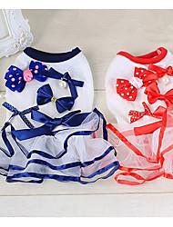 baratos -Cachorro Vestidos Roupas para Cães Laço Vermelho / Azul Algodão Ocasiões Especiais Para animais de estimação Verão Homens / Mulheres Casual