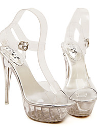 cheap -Women's Shoes PU Summer Transparent Shoes Sandals For Casual Silver