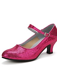 cheap -Women's Modern Shoes Sparkling Glitter / Paillette Heel Professional Sparkling Glitter / Buckle Cuban Heel Dance Shoes Red / Blue / Pink