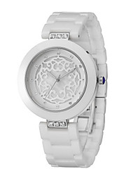cheap -Women's Fashion Watch Quartz Water Resistant / Water Proof Ceramic Band Sparkle White Silver Rose Gold