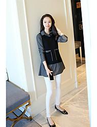 preiswerte -Damen Kunst-Pelz Langarm Pullover-Solide Hemdkragen