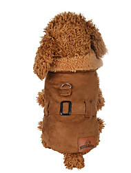 cheap -Dog Coat Dog Clothes Casual/Daily Solid Brown Costume For Pets