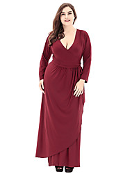 cheap -Women's Plus Size Going out Sophisticated A Line Loose Dress - Solid Colored Ruched High Rise Maxi V Neck