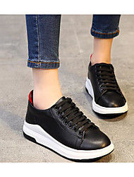 cheap -Women's Shoes Real Leather Fall Comfort Sneakers Flat Heel Round Toe For Casual Black White