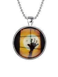 Women's Pendant Necklaces Chain Necklaces Round Silver Plated Alloy Hip-Hop Illuminated Jewelry For Halloween Street
