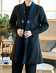 cheap -Men's Daily Plus Size Simple Casual Chinoiserie Winter Trench Coat,Solid Print Peaked Lapel Long Sleeve Regular Wool Polyester