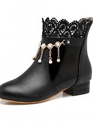 abordables -Mujer Zapatos Semicuero PU Otoño Invierno Confort Innovador Botas hasta el Tobillo Botas Tacón Plano Dedo redondo Botines/Hasta el Tobillo