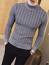 cheap -Men's Basic Long Sleeves Slim Pullover - Solid Colored, Stripe